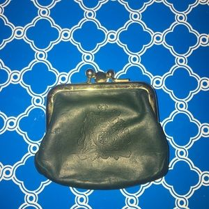 Vintage Leather double kiss lock coin pouch